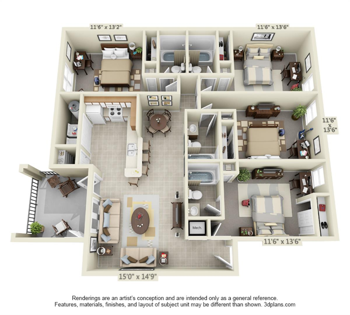 Luxury 4 bedroom apartment floor plans for Apartment design guide part 4